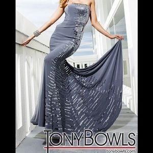 Tony Bowls Sequin Jersey Gown in Black